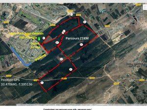 parcours Forest run Bouskoura 2018 - 21 km