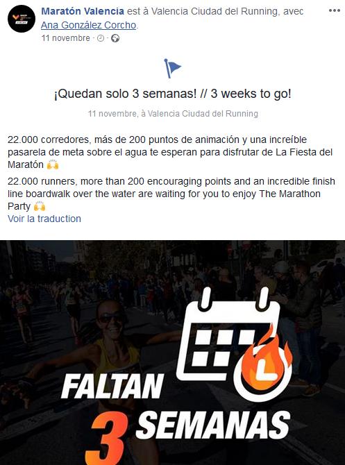 3 semaines pour le maraton valencia